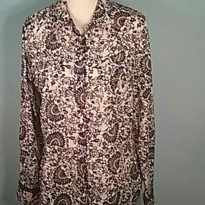 Tory Burch button down blouse shirt pockets plu 14
